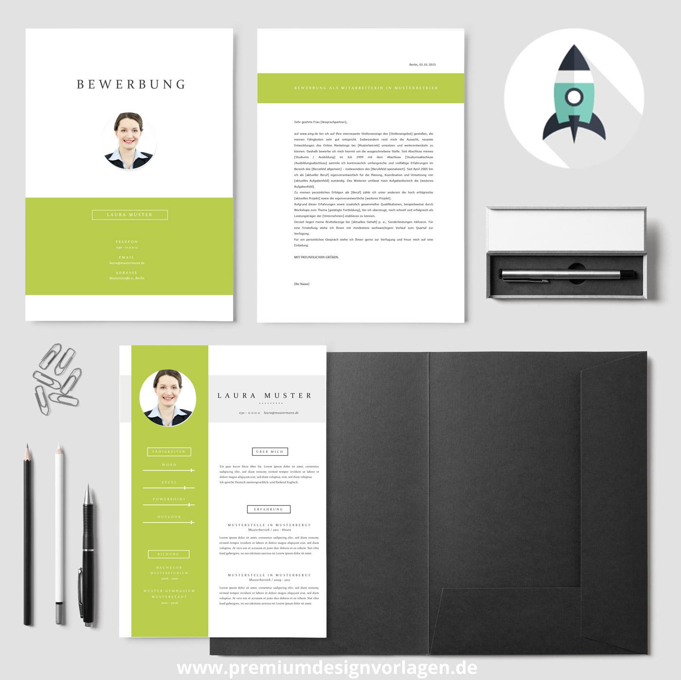 Bewerbungsvorlage mit Muster-Anschreiben und Lebenslaufvorlage von Premiumdesignvorlagen.