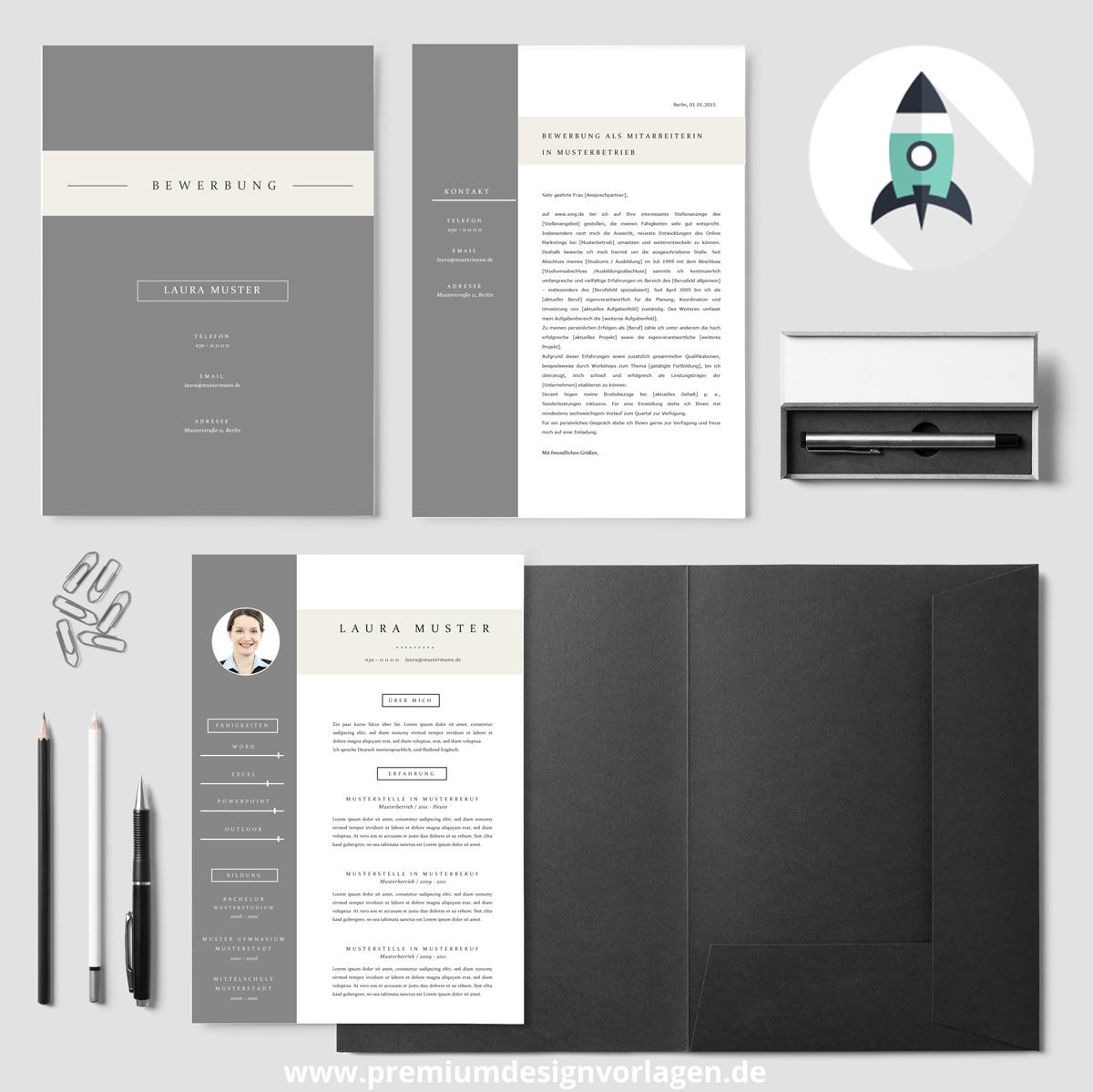 Stilvolle Design Bewerbungsvorlage von Premiumdesignvorlagen